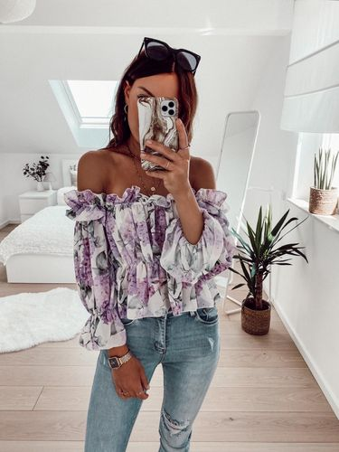 Flower Crop Bluse- flieder