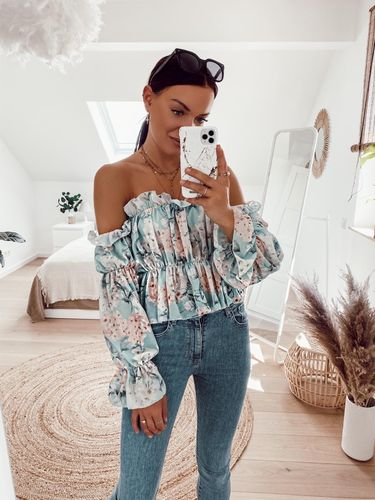 Flower Crop Bluse- mint