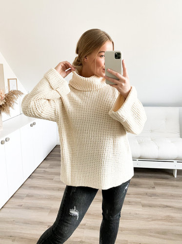 Oversize Pullover mit Waffelmuster